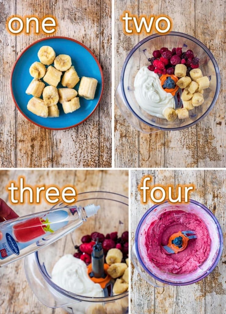 Step by step process to making 5 Minute Healthy Frozen Yogurt