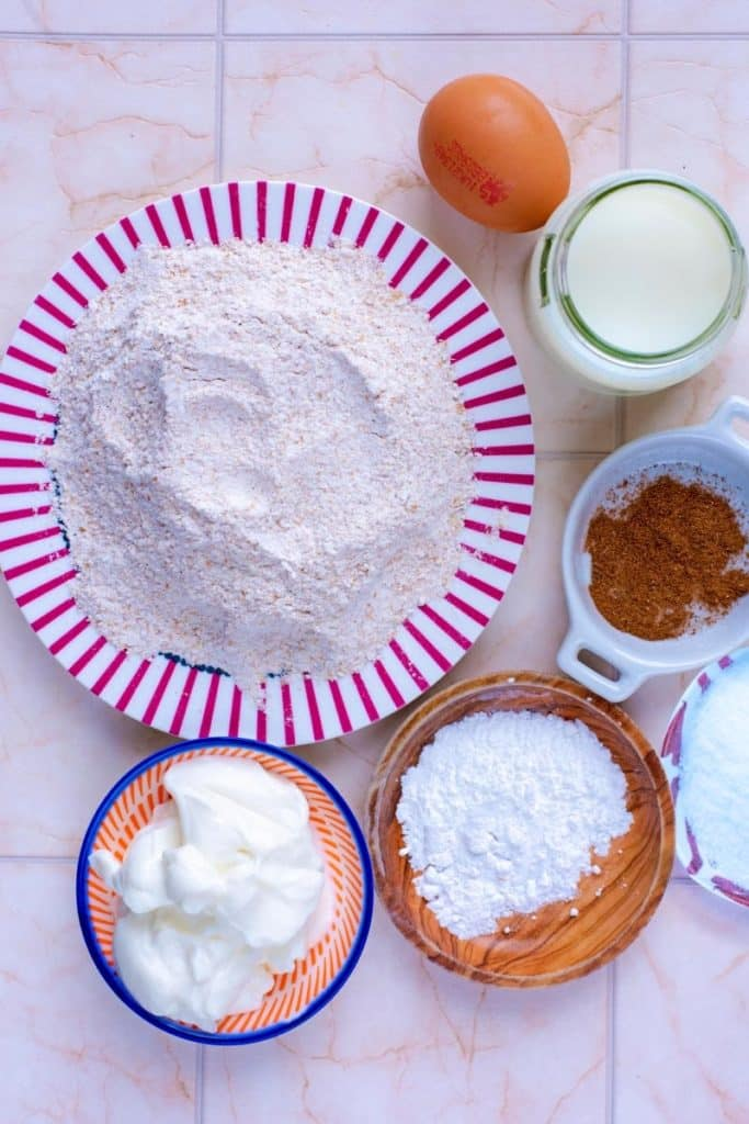 A selection of baking items on plates