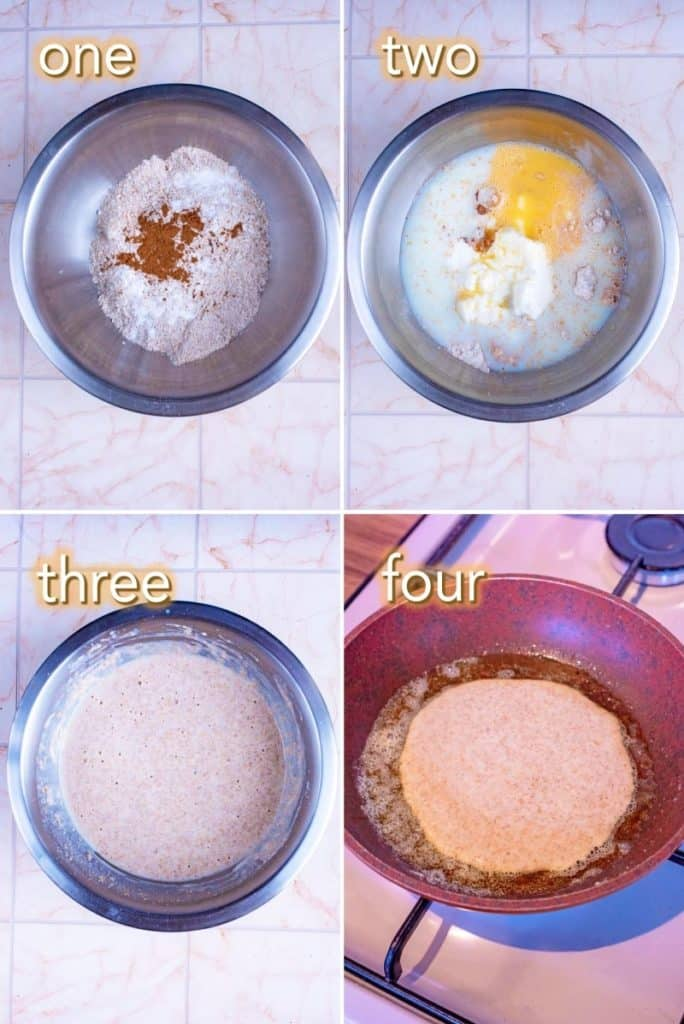 Four steps to making whole wheat pancakes