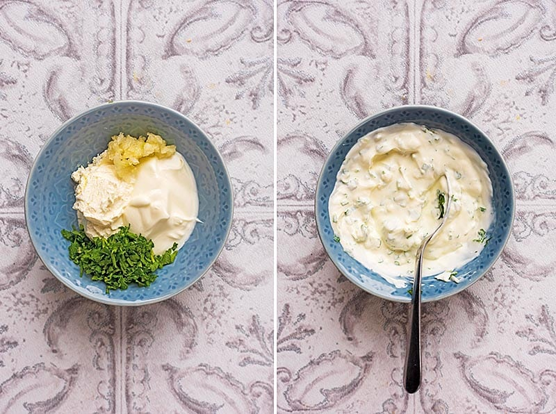 Two pictures of a bowl of cream cheese and herbs. One is mixed togetehr the other isn't