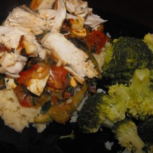 Lemon Herb Chicken on a bed of cous cous with brocolli