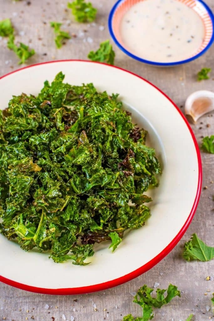 A white plate with Kale Chips