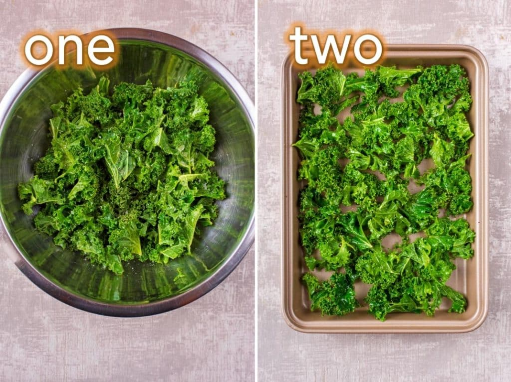 Step by step process of how to make Kale Crisps