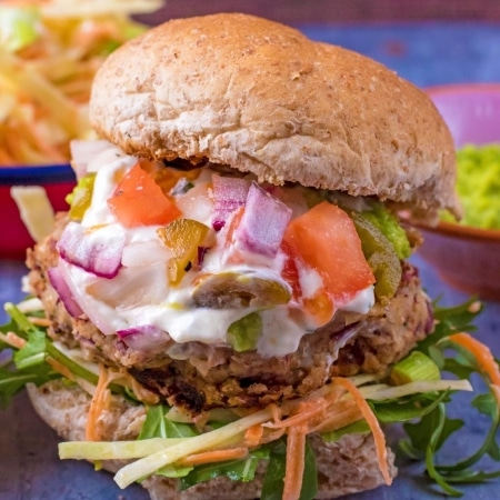 Close up of Mexican Bean Burger