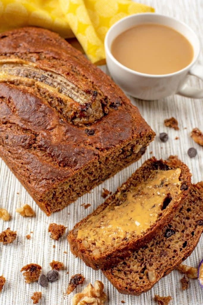A loaf of Healthy Banana Bread with some slices cut of