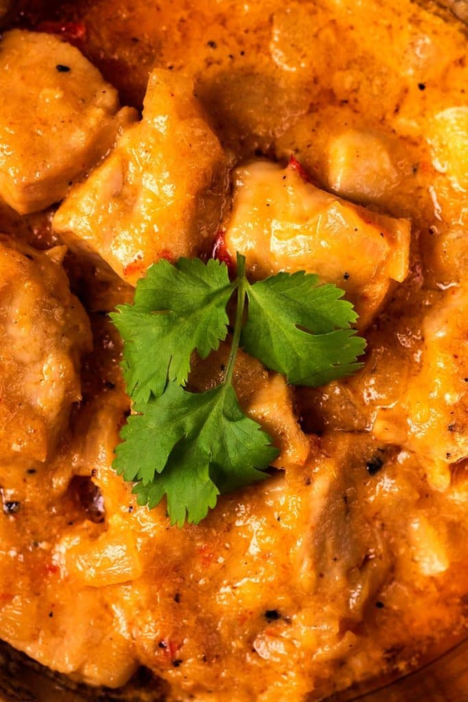 Chunks of chicken in a curry sauce topped with a cilantro leaf
