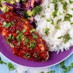 Tomato, Chilli and Basil Marinated Chicken on a purple plate with coriander rice