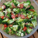 Broccoli Salad in a large plastic bowl