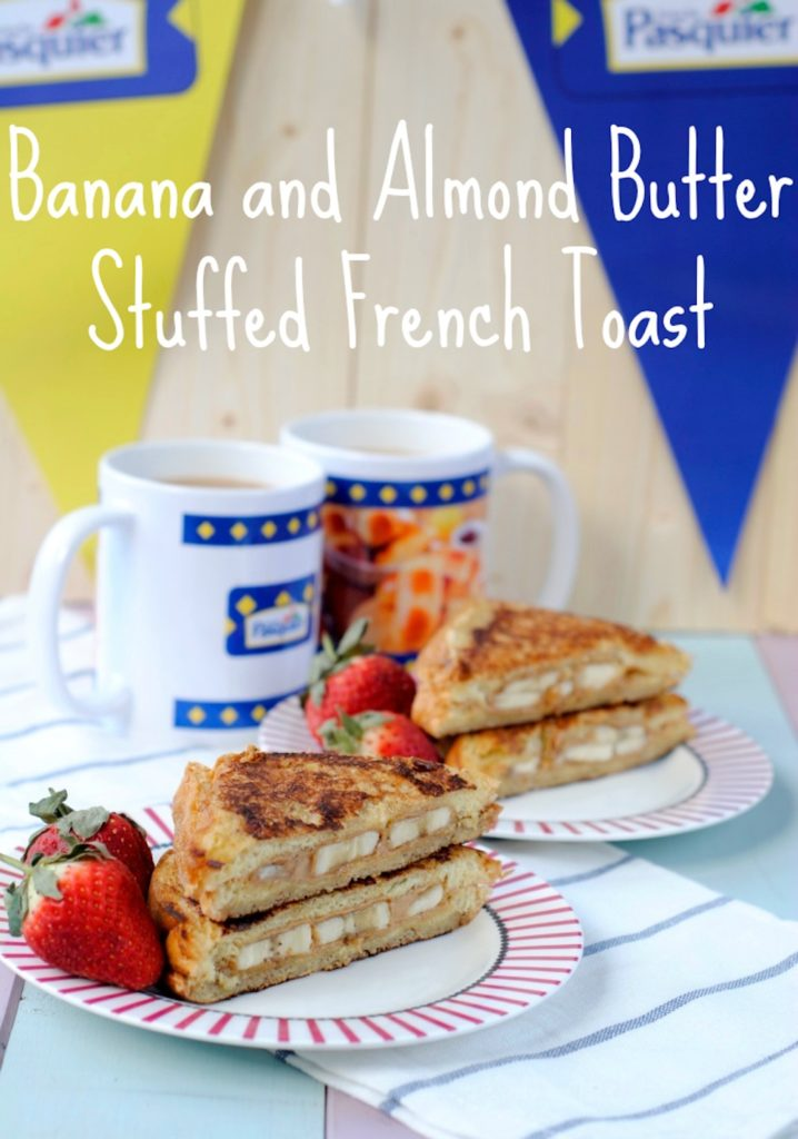 Banana and Almond Butter Stuffed French Toast on two plates with text overlay