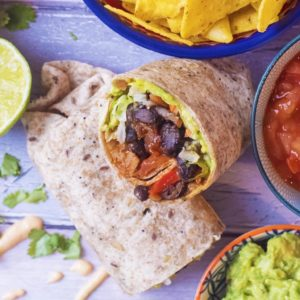 Bean Burrito surrounded by salsa, chips, guacamole and coriander leaves