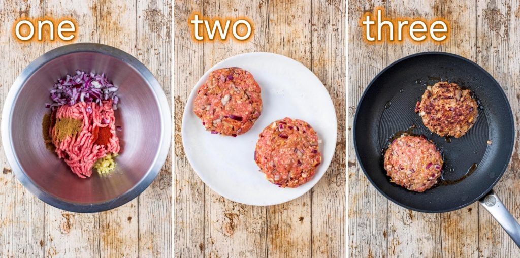 Step by step process to making Spiced Lamb Burger