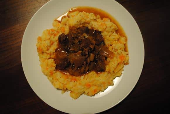 Slow Cooked Beef Casserole on a white plate