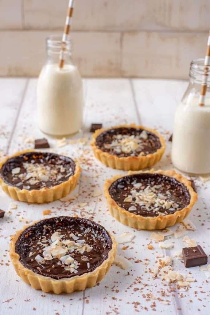 Chocolate Pie with milk bottles