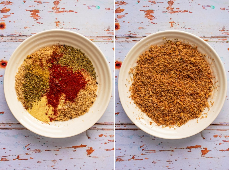 Two bowls, one with mixed and one with unmixed breadcrumbs and spices