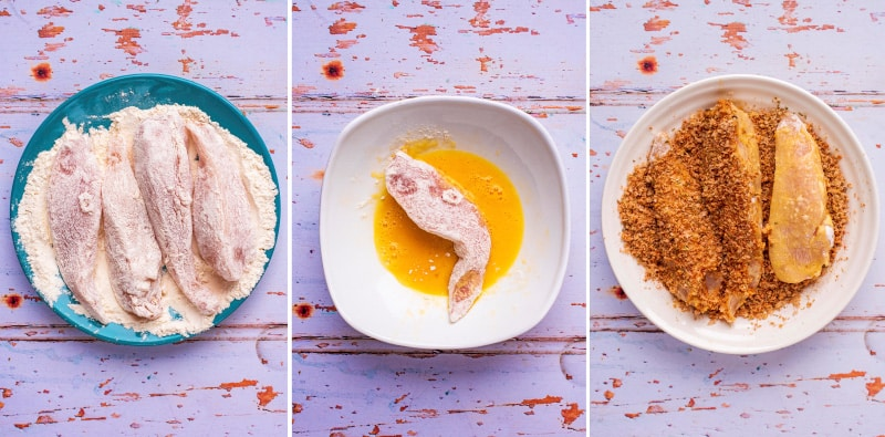 A plate with flour coated chicken, a bowl with flour coated chicken dipped in egg, a bowl with chicken coated in breadcrumbs