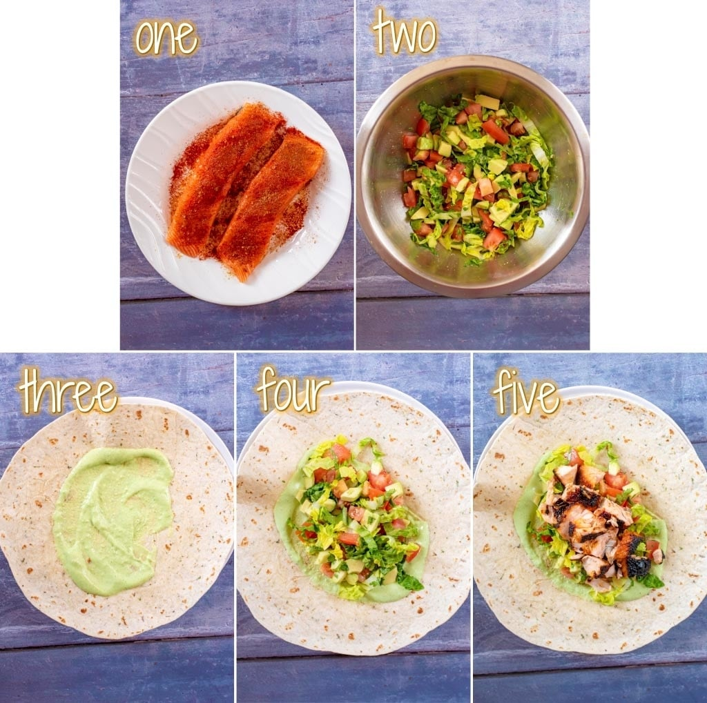step by step process to make a Salmon Burrito