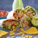 Salmon Burritos sliced in half