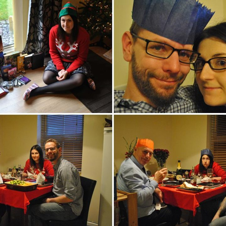 Four picture collage of Christmas Day in the Martin household