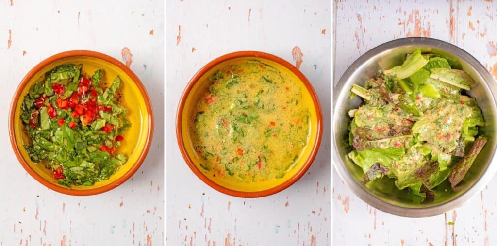 Three step to making Lime, Chilli and Mustard Salad Dressing