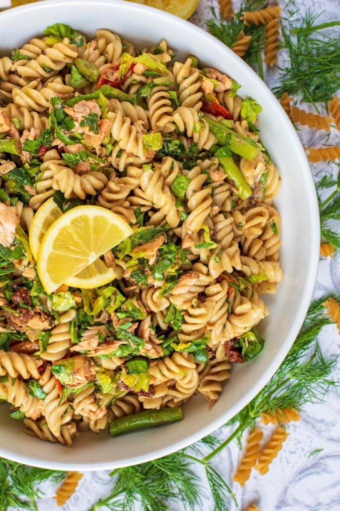 Salmon Pasta Salad in a large white bowl