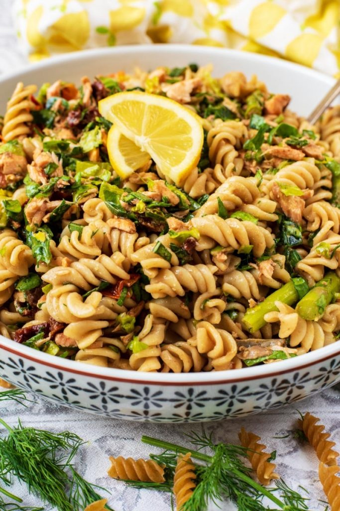 A large dish of pasta salad