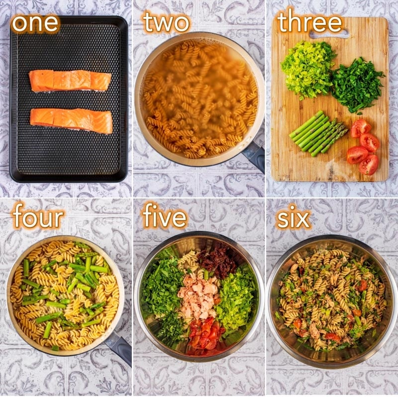 Step by step process of how to make Salmon Pasta Salad