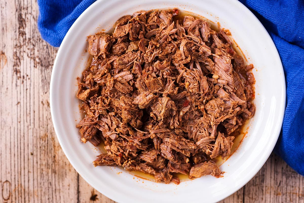 Shredded beef in a bowl