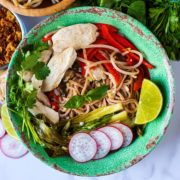 Pho Ga chicken noodle soup in a green bowl