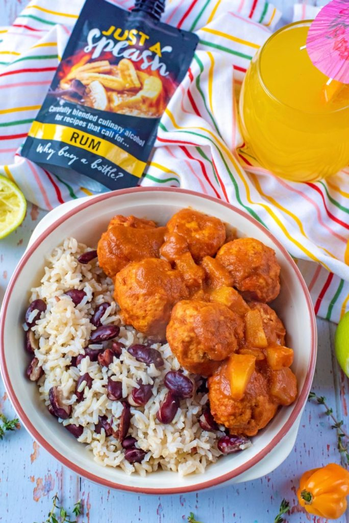 Jamaican Jerk Meatballs with just a splash rum pouch