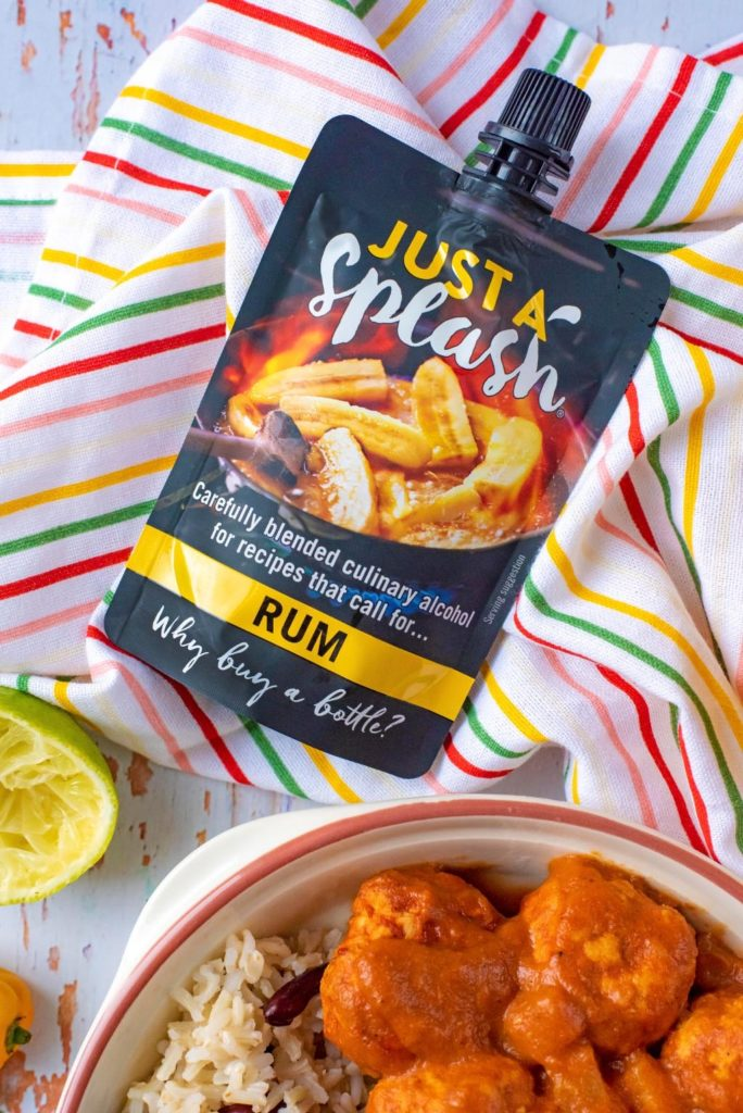 Just a splash rum pouch with Jamaican Jerk Meatballs