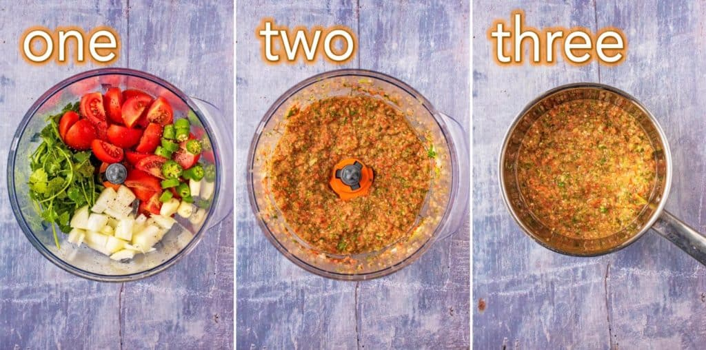 Step by step process of how to make Salsa Picante