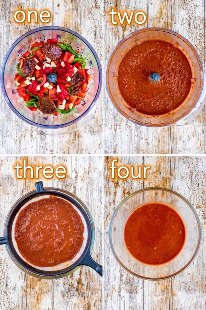 Step by step process of how to make a tomato vinaigrette