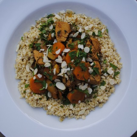 Chicken Tagine in a large white bowl