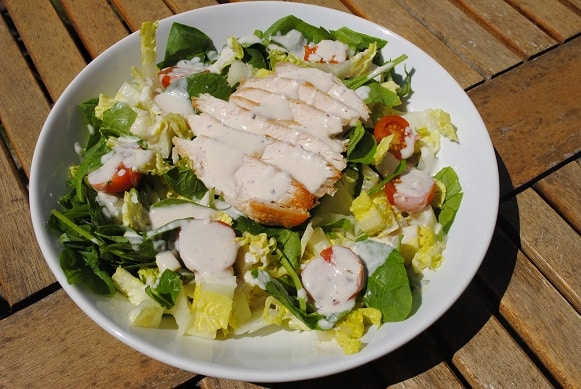 Chicken Caesar Salad on a plate