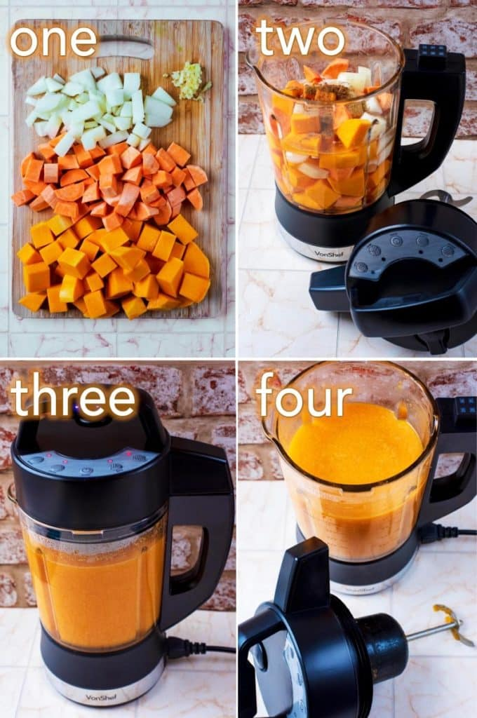 Step by step process of how to make Sweet Potato and Butternut Squash Soup