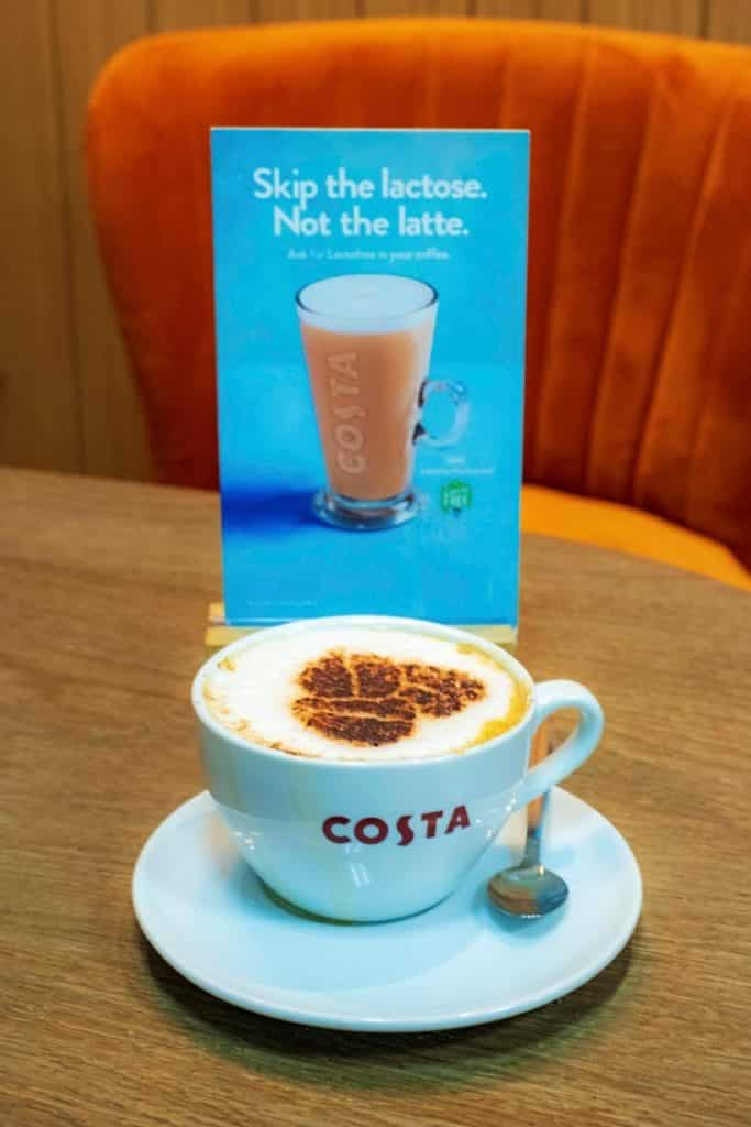 A cup of Lactofree latte from Costa Coffee