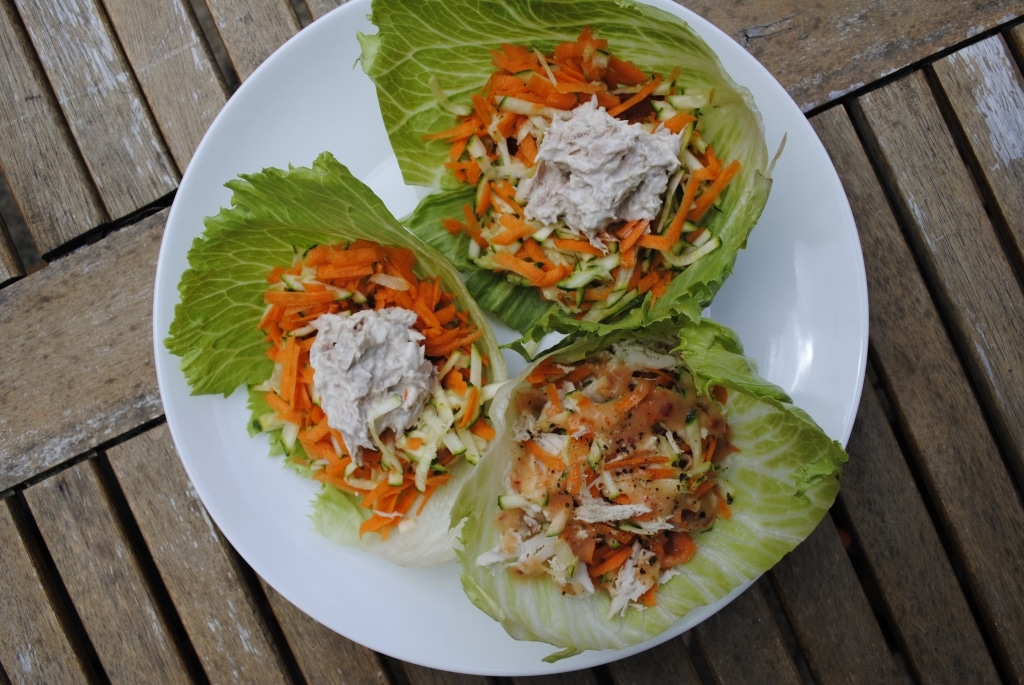 Three Asian Lettuce Wraps on a white plate