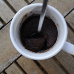 Chocolate Mug Cake on a wooden surface