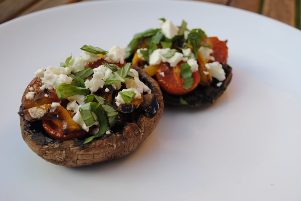 Stuffed Portobello Mushrooms on a white plate