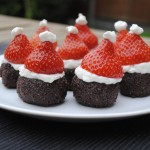 Santa Brownies on a white plate