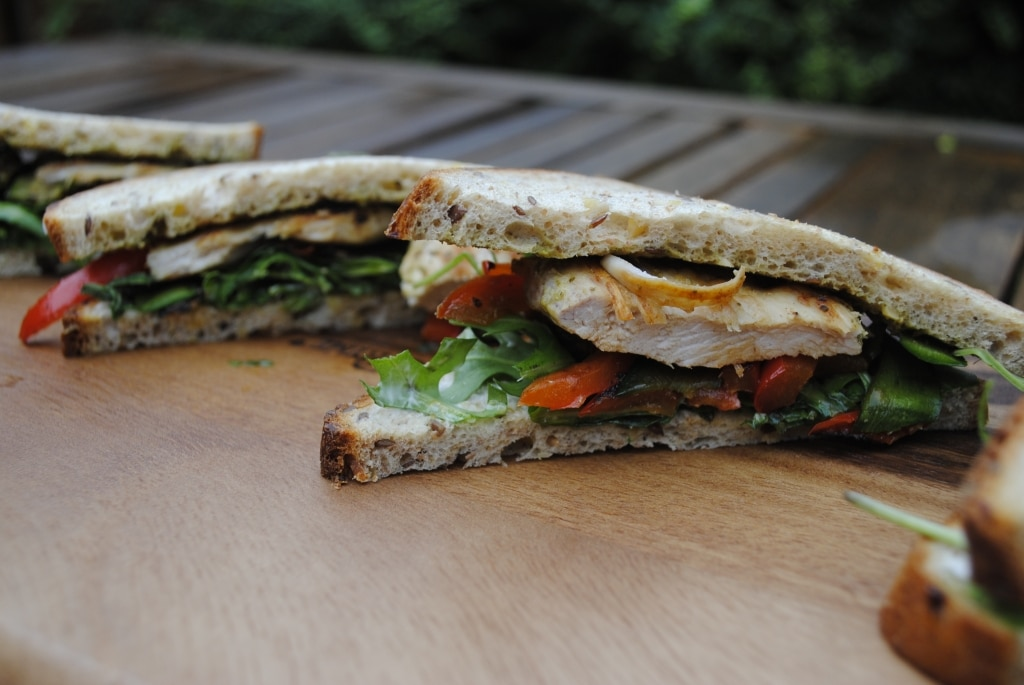 Pesto Chicken and Roasted Vegetable Sandwich - Hungry ...