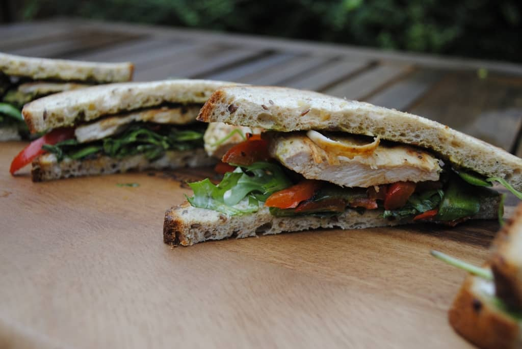 Pesto Chicken and Roasted Vegetable Sandwich - Hungry Healthy Happy