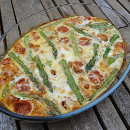 Feta and Asparagus Frittata in a glass baking dish