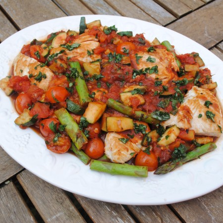 Italian Chicken on a large white plate