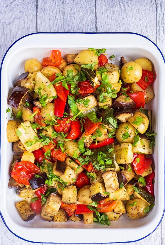 A roasting dish containing Italian Roasted Vegetables