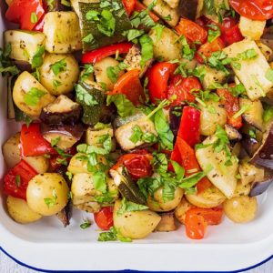Italian Roasted Vegetables in a white baking dish