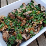 Garlic and Herb Mushrooms in a white baking dish