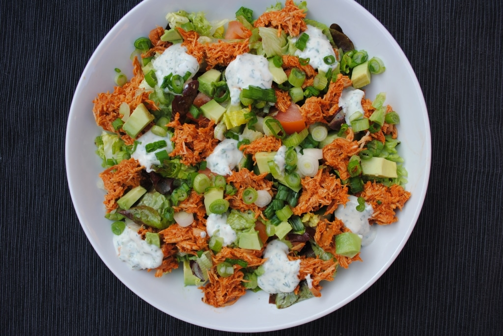 BBQ Rabch Salad in a large white bowl