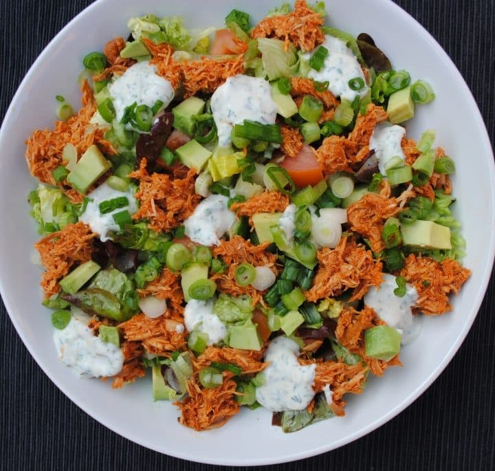 BBQ Ranch Salad in a large white bowl