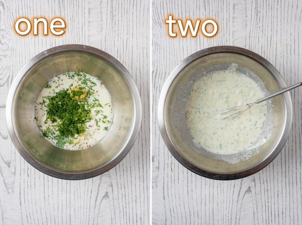Two step process shot of how to make healthy ranch dressing
